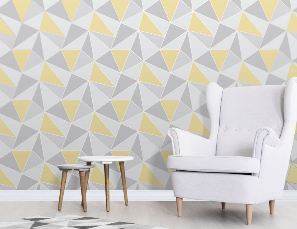 Fine Decor Apex Geo Yellow/Grey FD41991 Wallpaper